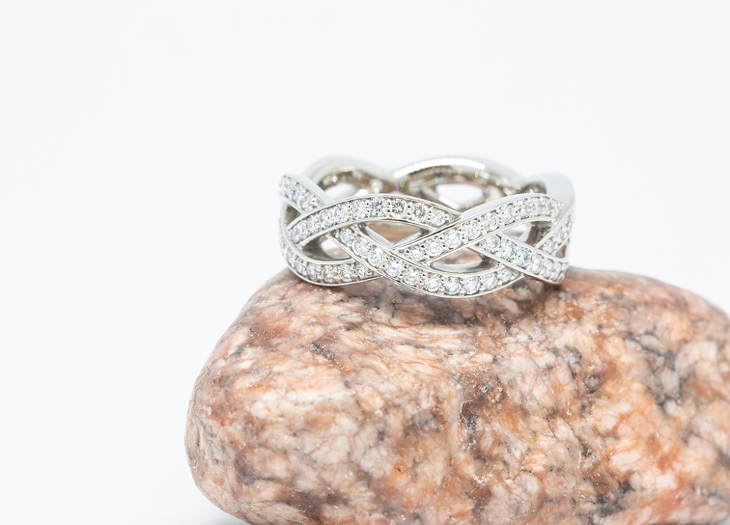 Braided diamond ring in 14k white gold