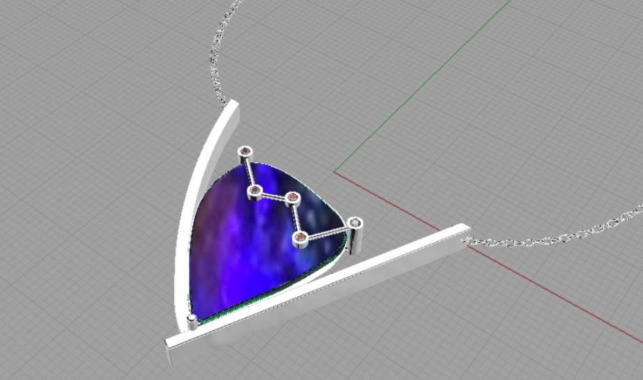 Computer rendered aurora pendant in Rhino.