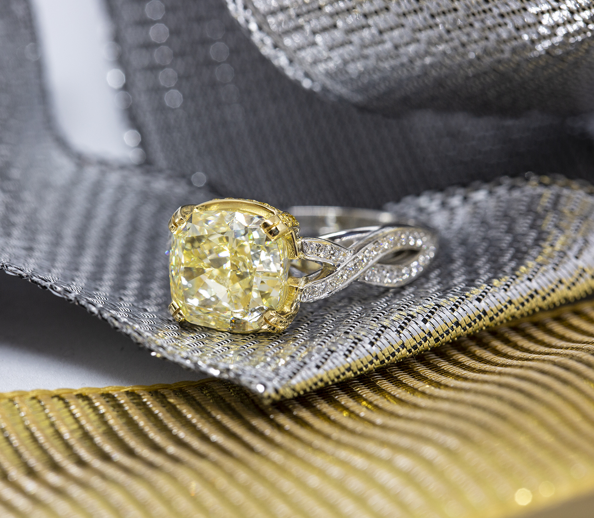 alternate view of yellow diamond ring