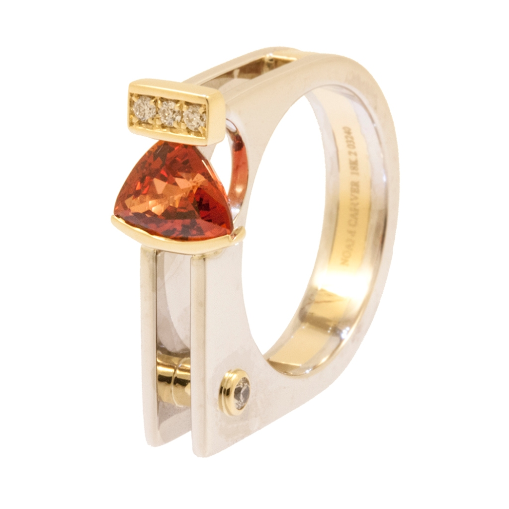 Finished Architecture orange ring with 14k white and yellow gold, diamonds and an orange sapphire.